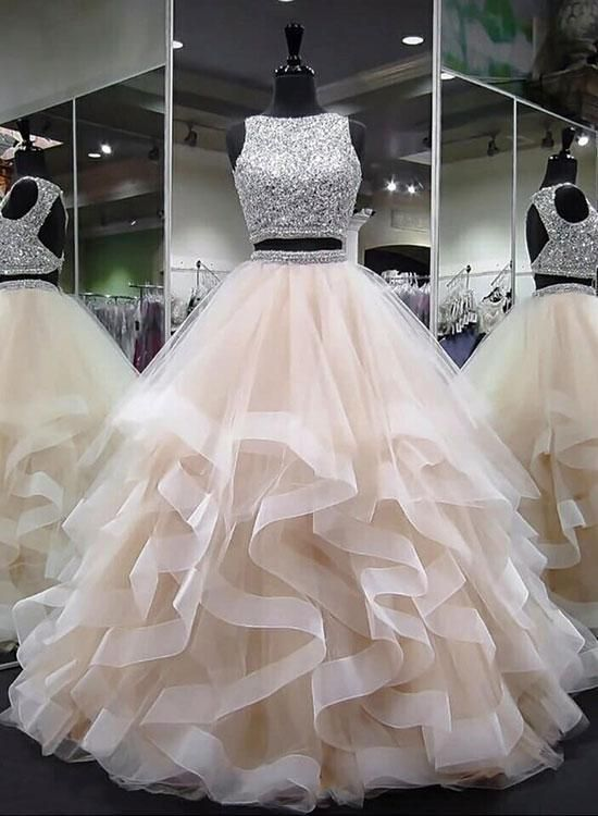 round neck tulle long prom dress, ball gown M2838 - #Ball #Dress #Gown #Long #M2838 #Neck #Prom #Tulle #quinceaneraparty