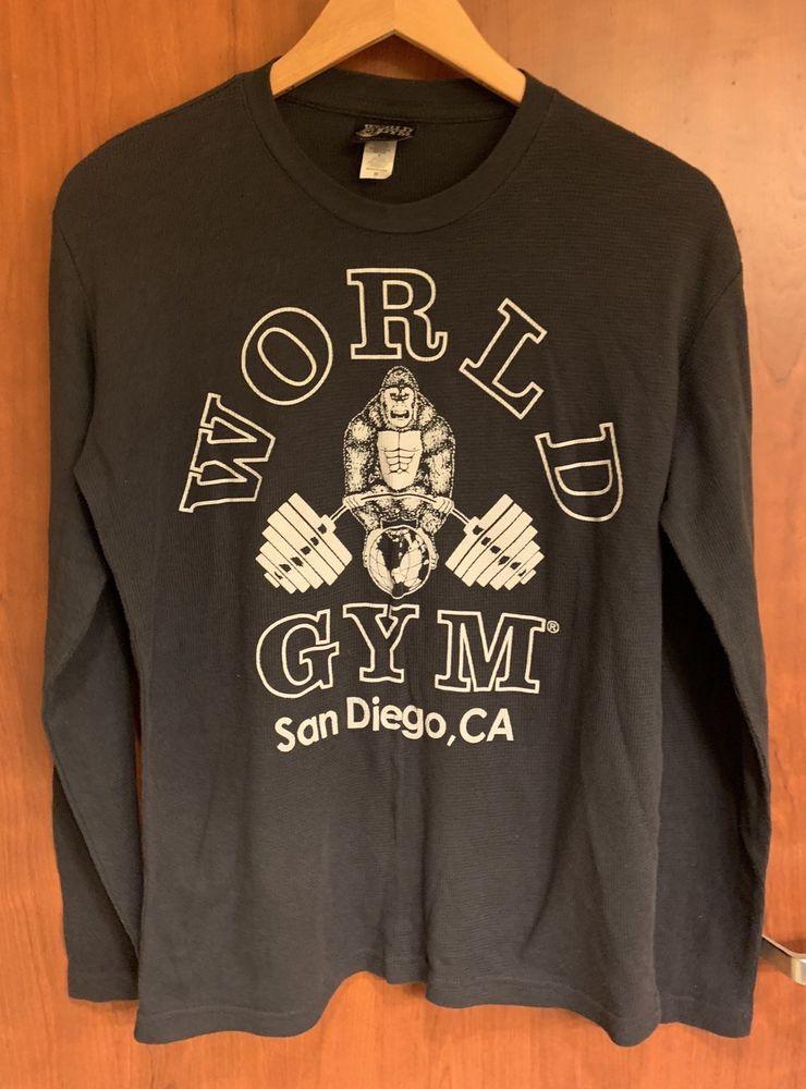 World Gym Classic Gorilla Logo Bodybuilding San Diego Men S Pimatee Shirt M L S Ebay Shirts Unisex Fashion Clothes