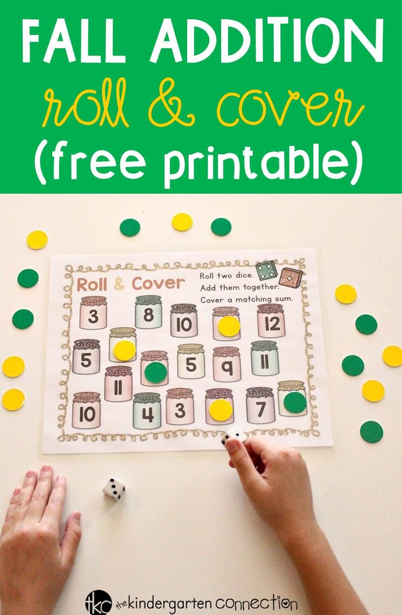 Fall Addition Roll and Cover Free Preschool Printable Activity | Fun ...
