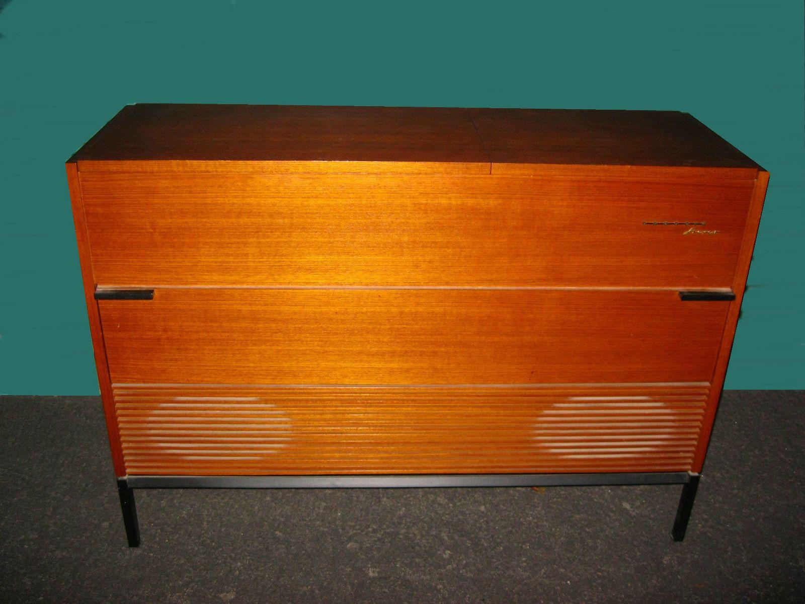 Grundig Stereo Radio Console Wood Cabinet W Vinyl Record Player