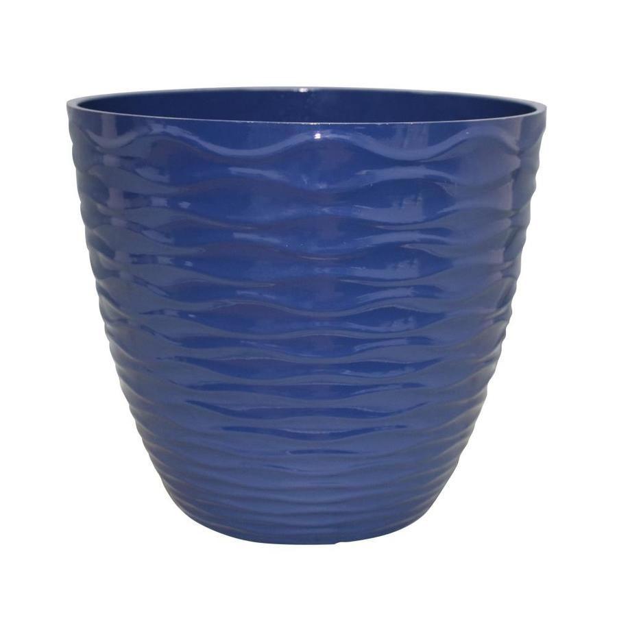 Allen Roth 15 In W X 13 33 In H Navy Blue Resin Planter Lowes Com Resin Planters Plastic Planters Outdoor Flower Planters