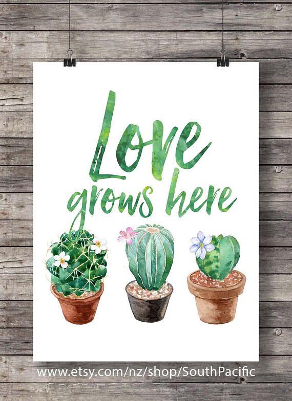 Photo of Cacti art print  Love grows here  Printable art  Watercolor | Etsy