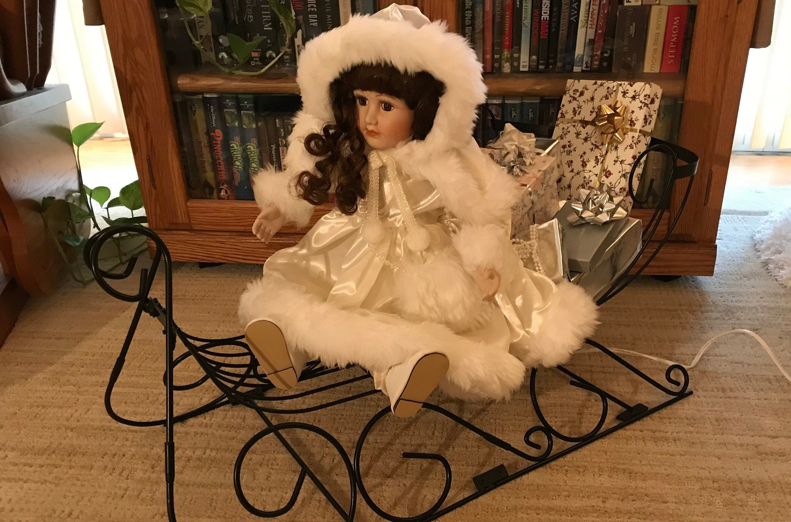 NEW Vintage Animated Victorian Doll-Excellent Condition-Metal Sleigh-Metal Stand for Upright Postition-Collectibles #victoriandolls