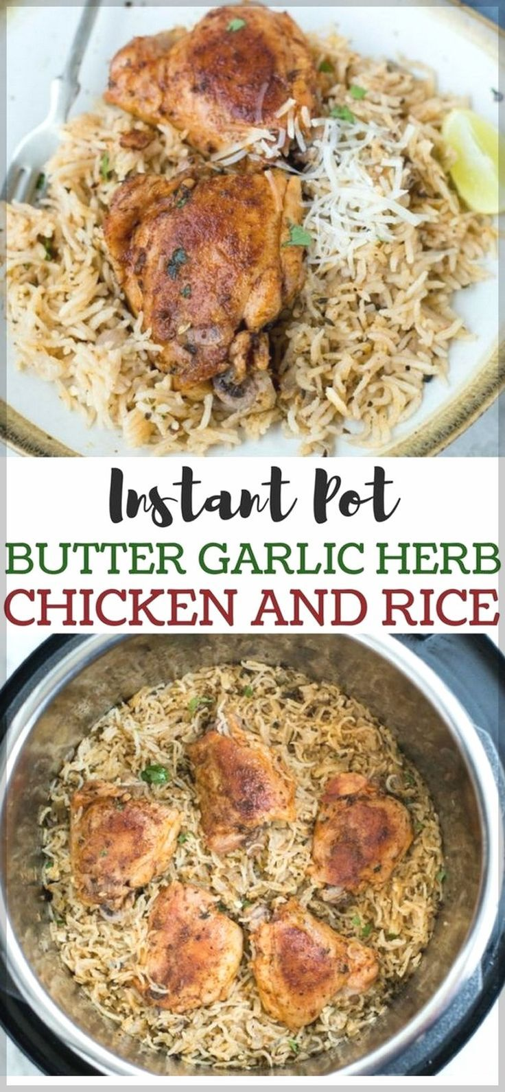 This awesome Instant Pot Garlic Herb Chicken And Rice is the perfect for weeknight family dinners and for game day bites! __undefined__ * Instant Pot Recipes Family Healthy | Instant Pot Chicken | Instant Pot Ribs | Instant Pot Recipes Beef | Instant Pot Recipes | Instant Pot  Recipes Chicken | Instant Pot For Beginner | Instant Pot #instantpotrecipesforbeginners