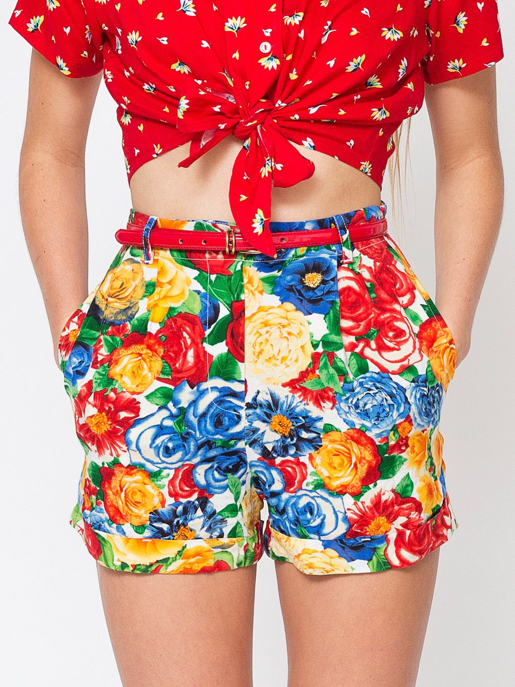Floral Print Pleated Cuff Short + Rayon Mid-Length Tie-Up Blouse.   AmericanApparel 5decda584