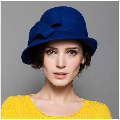 Elegant bow cloche hat for women plain soft wool felt  09fb2ca8afc