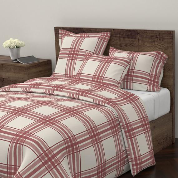 Large Scale Plaid Duvet Cover Plaid In Brick Red And Cream By Mel Fischer Brick Red Cotton Satee Duvet Comforters Duvet Covers Cozy Bed
