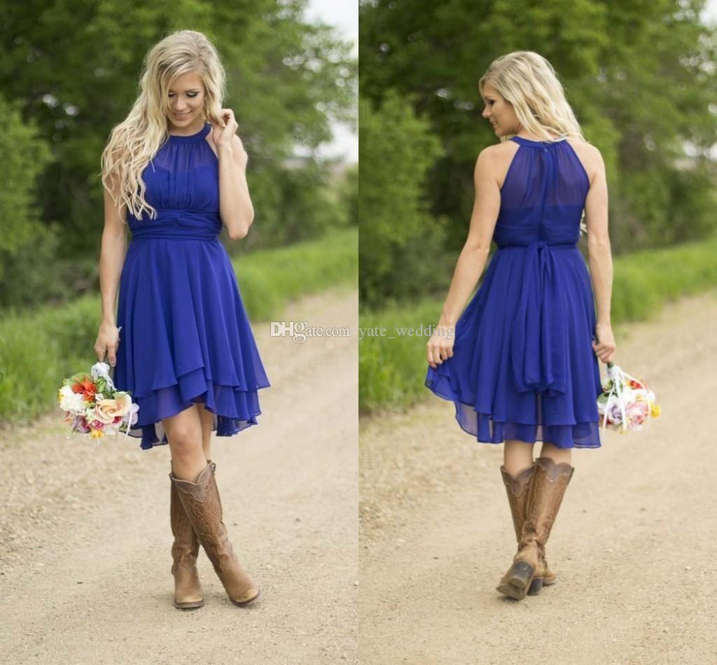 Royal Blue Short Bridesmaid Dresses 2016 Simple Knee Length Silver ...