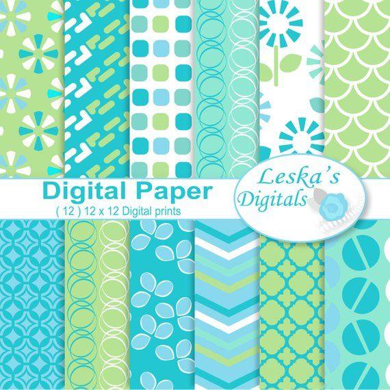 Digital scrapbooking papers, digital download, 12x12 printable