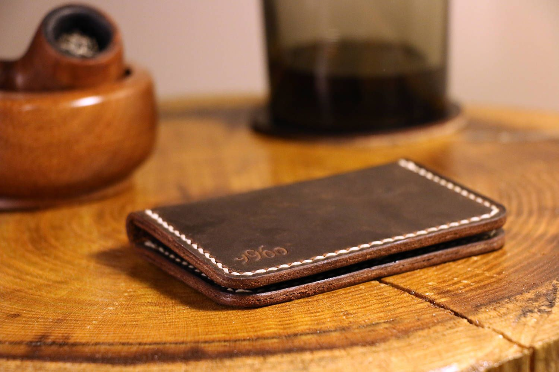Personalized Business Card Holder, Leather Men Wallet, 2 Pocket ...
