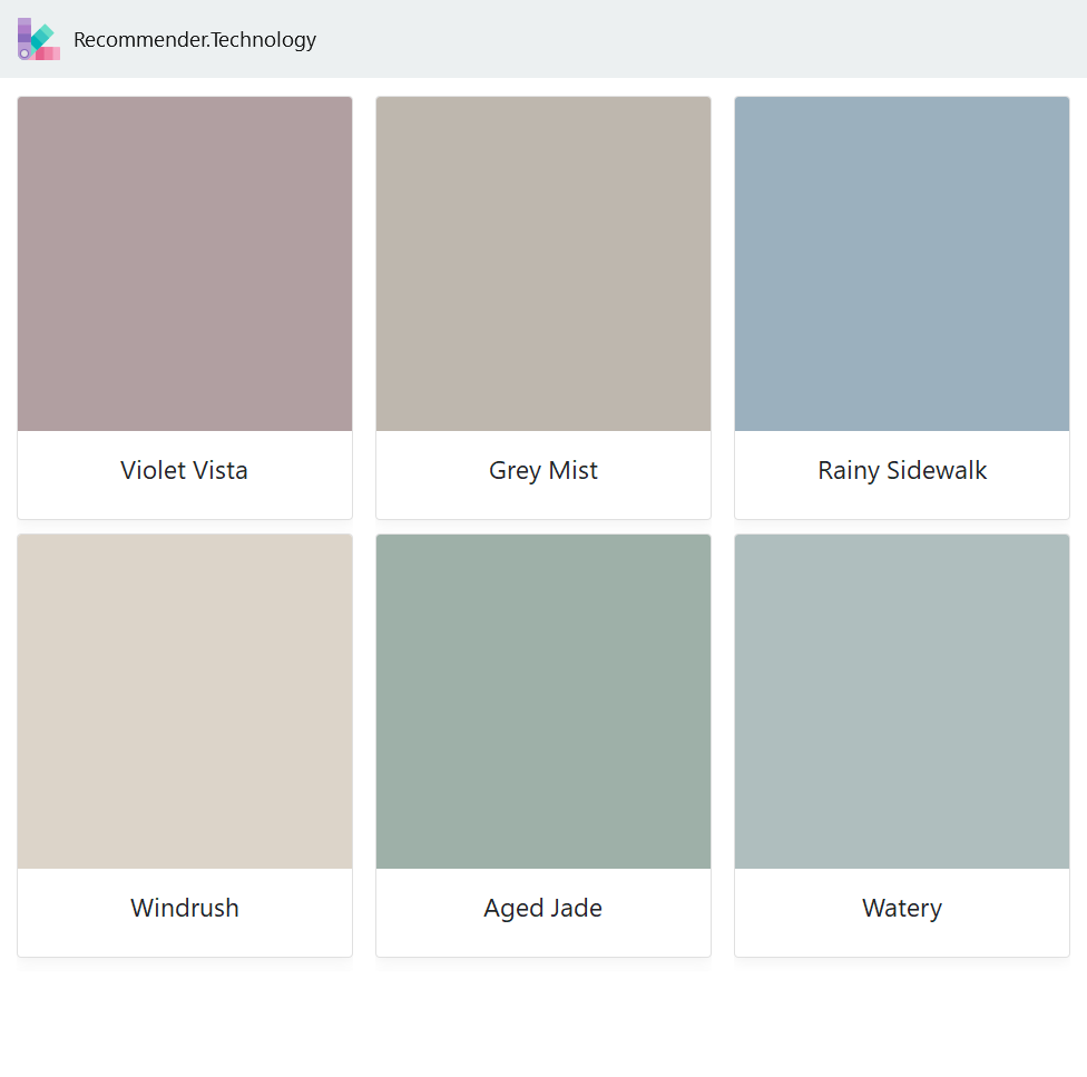 Violet Vista, Windrush, Grey Mist, Aged Jade, Rainy ...