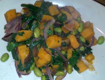 Sweet Potatoes with Kale & Edamame. Healthy, Gluten-Free, Vegan, Low Fat, Low Calorie, Low G.I., High Fiber, High Protein