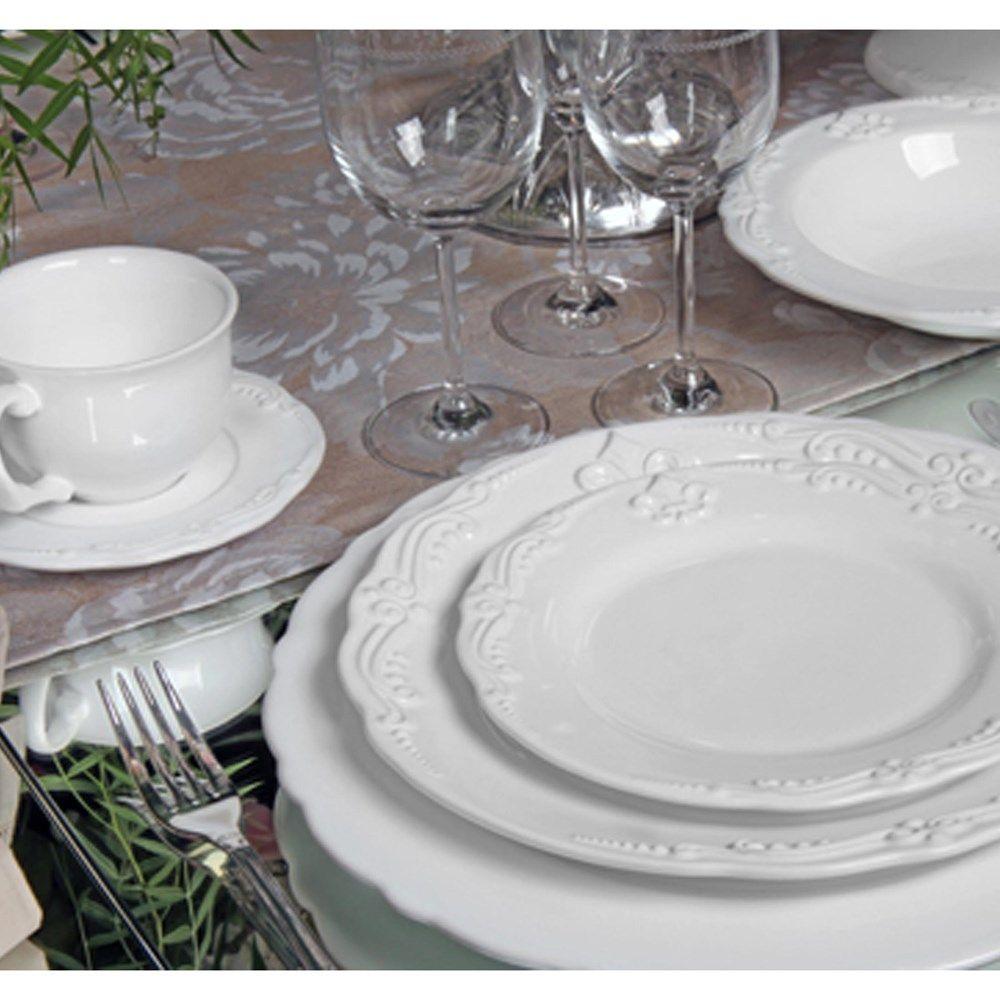 Aparelho De Jantar Flor De Lis Premium Porto Brasil Cerâmica Baú