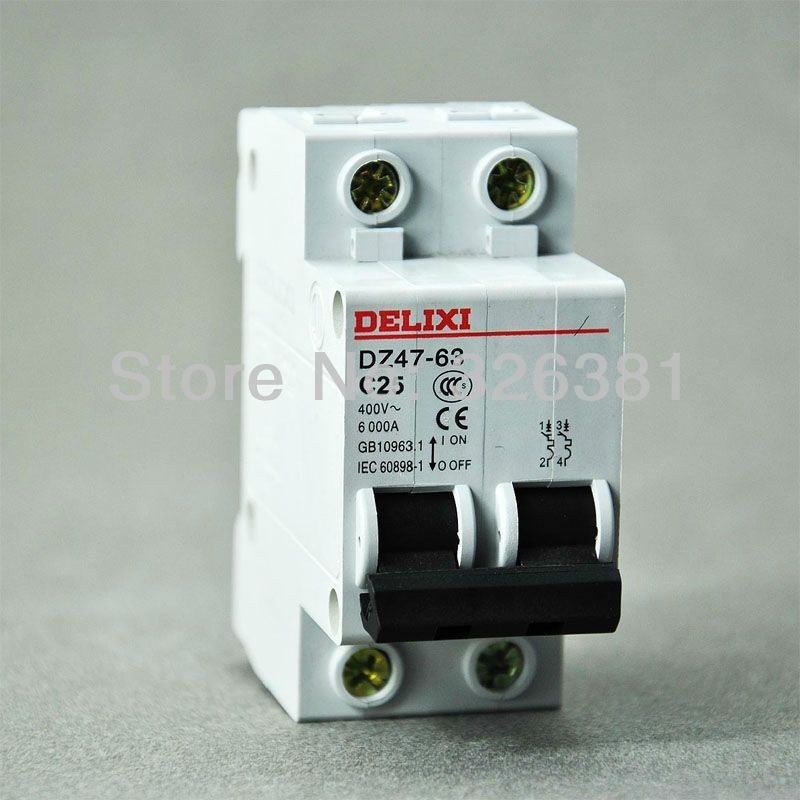 DELIXI Brand DZ47-63 C25 Type 2P AC 400V Circuit Breaker 16A-63A Air ...