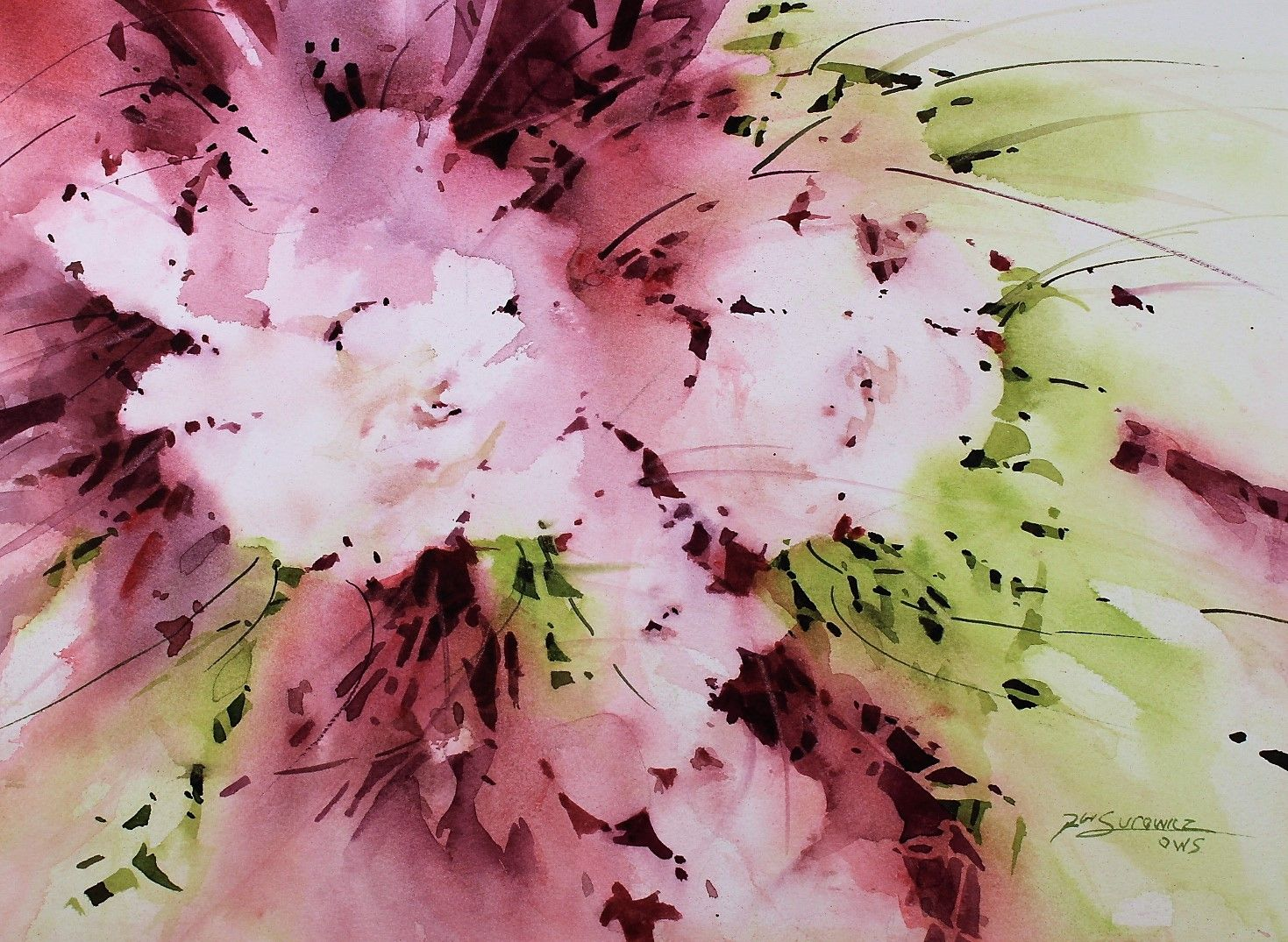 Regal Blush Watercolor Flowers Abstract Artwork Artist