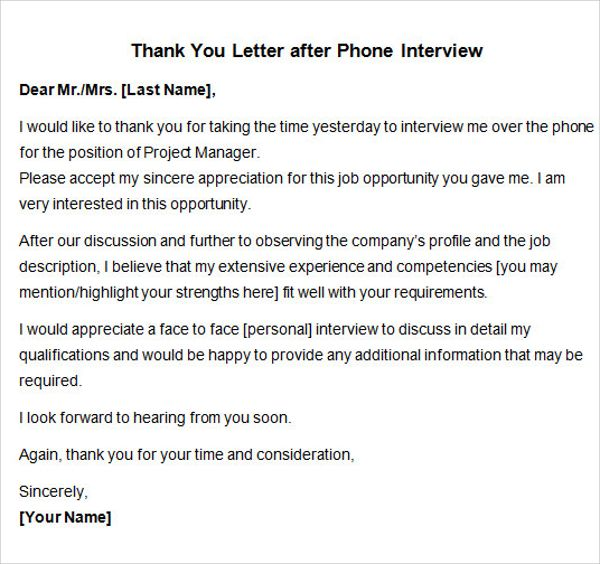 sample thank you letter after interview free documents word job - thank you letter after phone interview