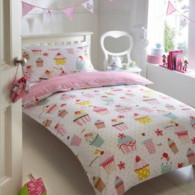 Pink and white Cupcakes bedding set