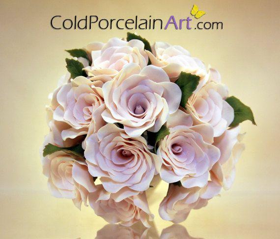 Ramo de rosas rosa pálido arte de la por ColdPorcelainArt en Etsy