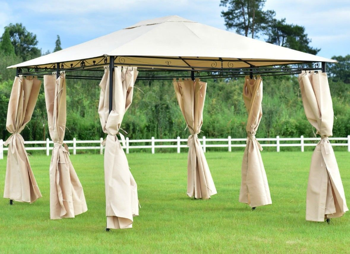 Steel Gazebo Large Waterproof Screen Metal 10x13 Sunshade Curtains Tent Canopy Ebay Gazebo Steel Gazebo Small Gazebo
