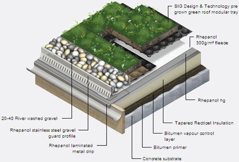 Roofing eaves green roofs green roofs roof stores for Sustainable roof materials