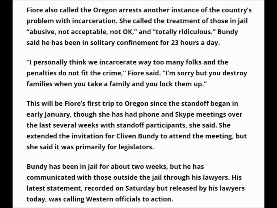 NOW Nevada Assemblywoman Michele Fior Heading To Oregon To Support Bundy...