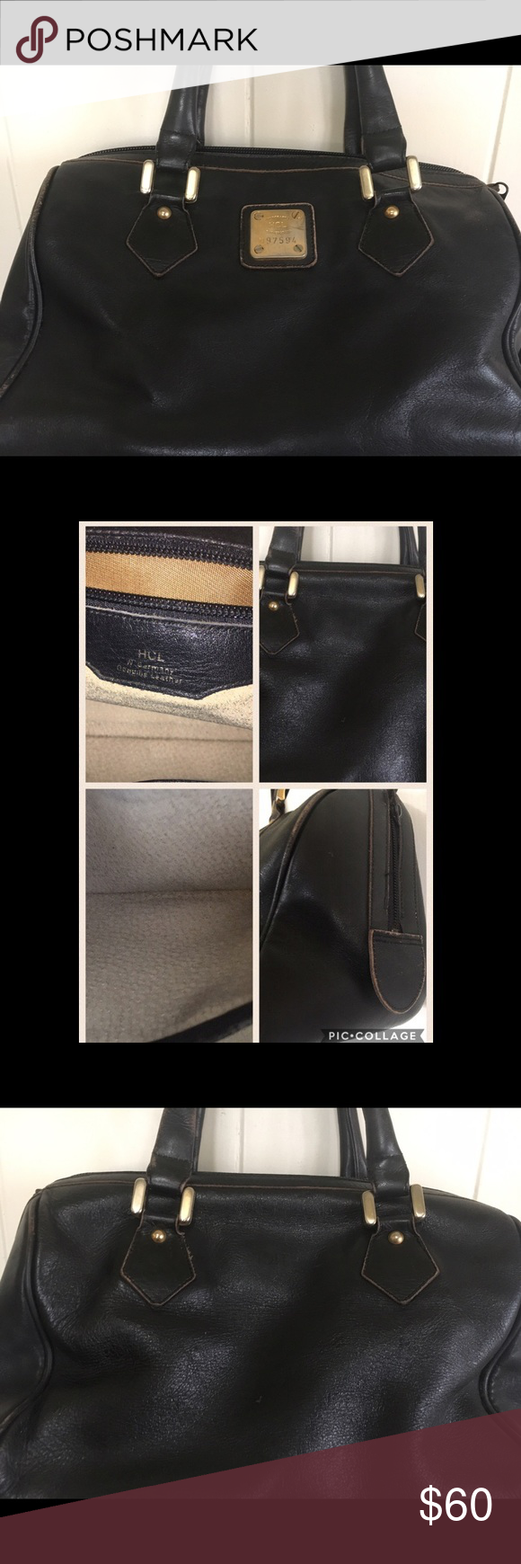Vintage Used But Clean Authentic Hcl Handbag As Is In Photo Black Leather Corners Show Wear However Very Durable