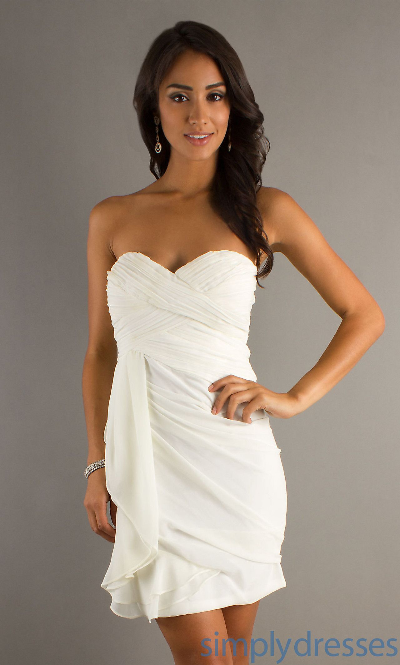 Short White Strapless Sweetheart cute rehearsal dinner dress