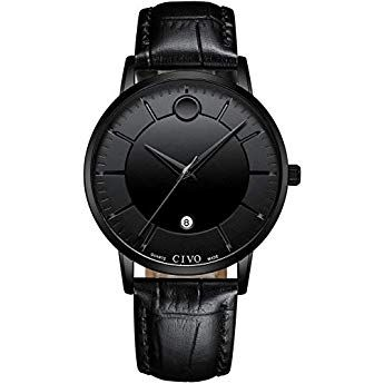 9e4ffd1689 CIVO Mens Black Watches Waterproof Genuine Leather Wrist Watch for Men Date  Calendar Gents Casual Luxury