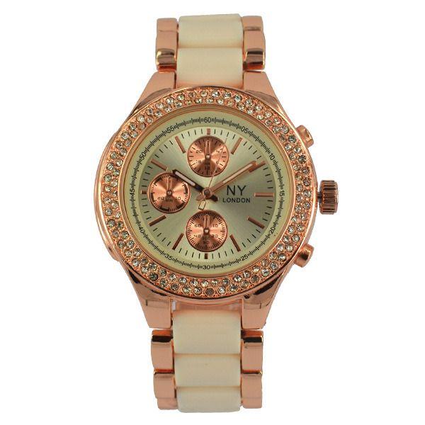 Reloj Ny London Para Dama En Bano De Oro Rosa De 18k Con