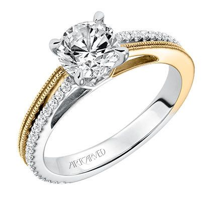"Artcarved ""Lancy"" Two Tone White and Yellow Gold Diamond"
