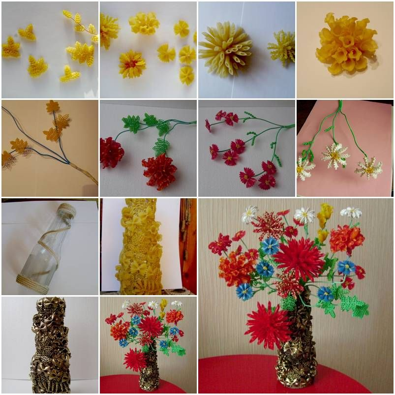 How To Make Beautiful Flowers And Jar With Pasta Step By DIY Tutorial Instructions