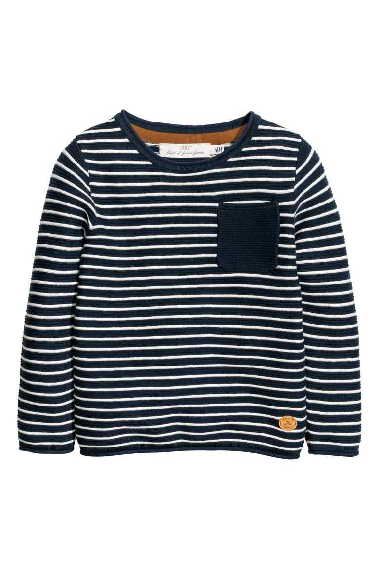 a06754bfeb7 Knitted jumper - Dark blue/White striped - Kids | H&M | Baby clothes ...