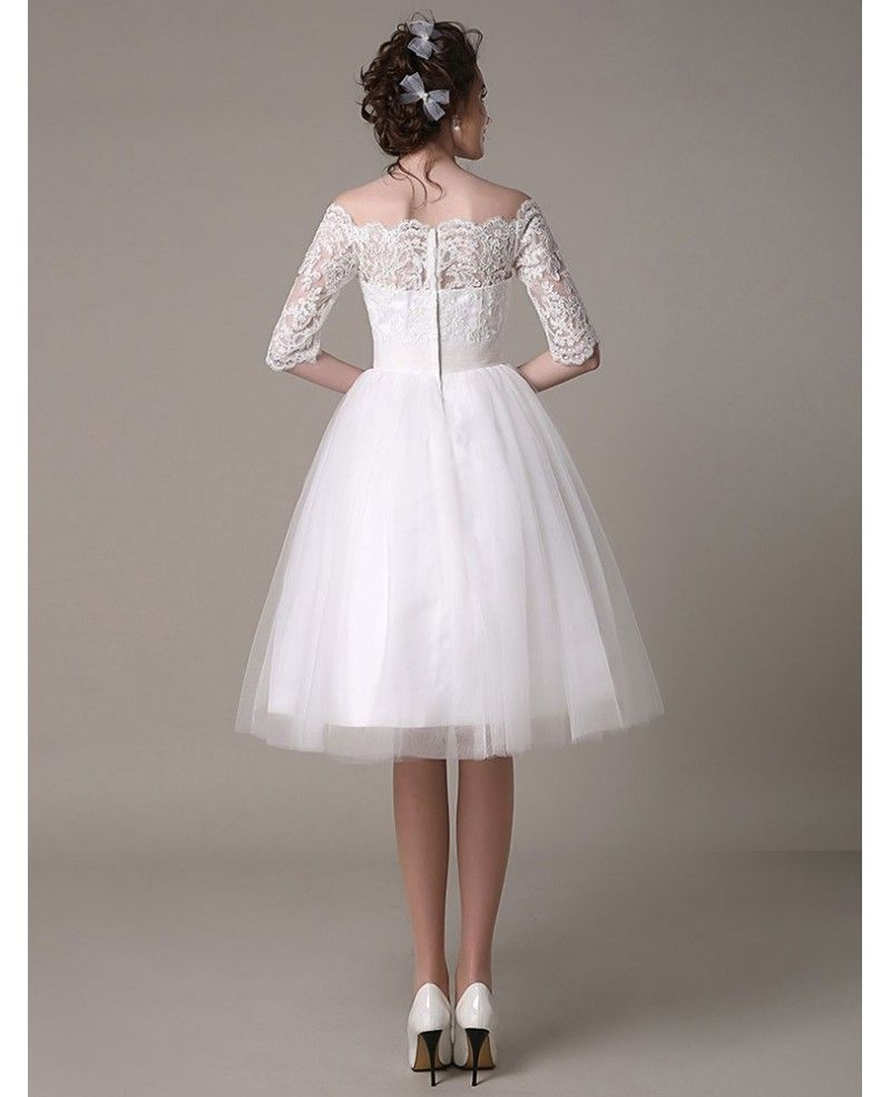 Vintage aline offtheshoulder kneelength tulle wedding dress with