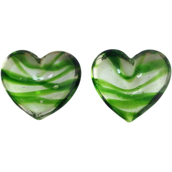 Transparent Dark Green Striped Glass Hearts  by yummytreasures
