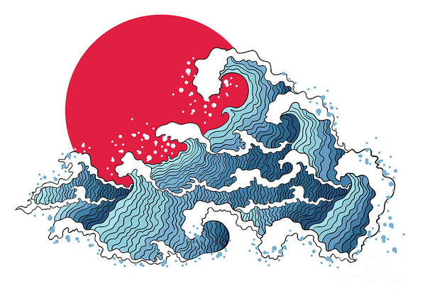 Asian Illustration Of Ocean Waves And Art Print by Annykos