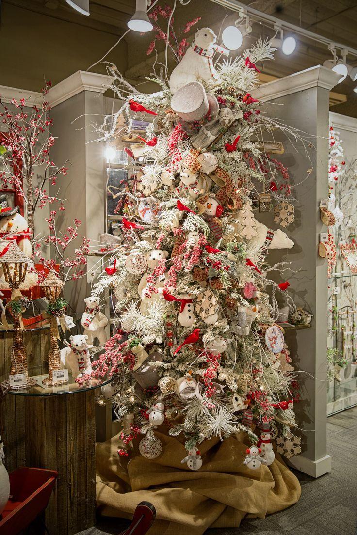 Rboles de navidad blanco decorados con una paleta de colores roja y blanco osos polares y - Arbol de navidad blanco ...