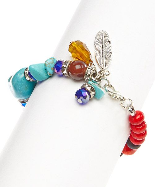 Take a look at the Turquoise & Red Beaded Feather Stretch Bracelet on #zulily today!