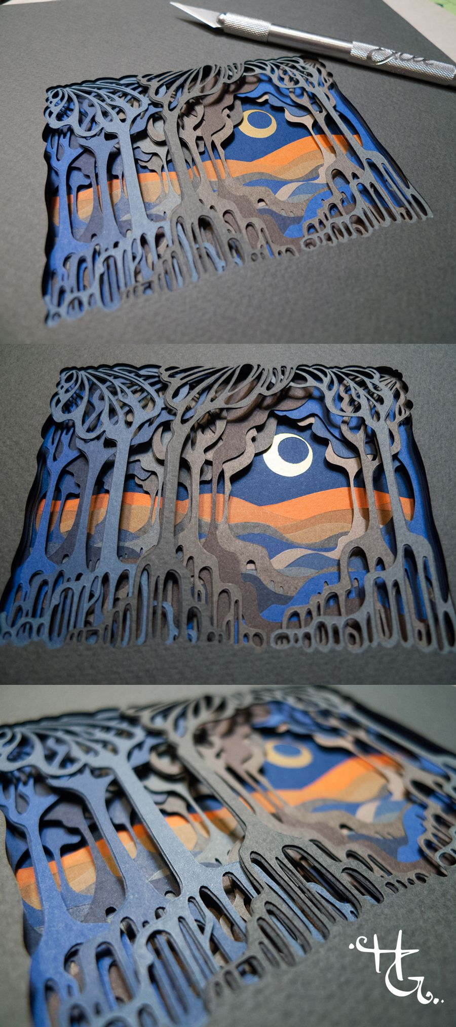 She Parts The Trees, 31 layers of hand cut paper, 3x4 inches, 2017, by Hazel Glass: My original papercut art is created with archival artist papers and an xacto blade. Whether the designs are symmetrical or organic, I specialize in meticulous work that requires attention to detail and fine craftsmanship. #layeredartbyhazelglass #handcutpaper #cutbyhand #papercutting #papercut #layeredart #basrelief #handcutpaperart #paperart #artinspiredbynature #paperartist #originaldesign #originalart #bookspapersandthings