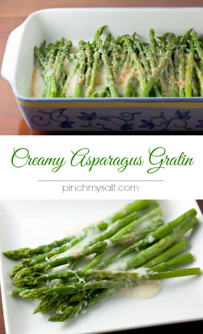 Creamy Asparagus Gratin recipe from Cook's Country Magazine. This is a simple and delicious way to prepare Spring's most delicious vegetable! pinchmysalt.com