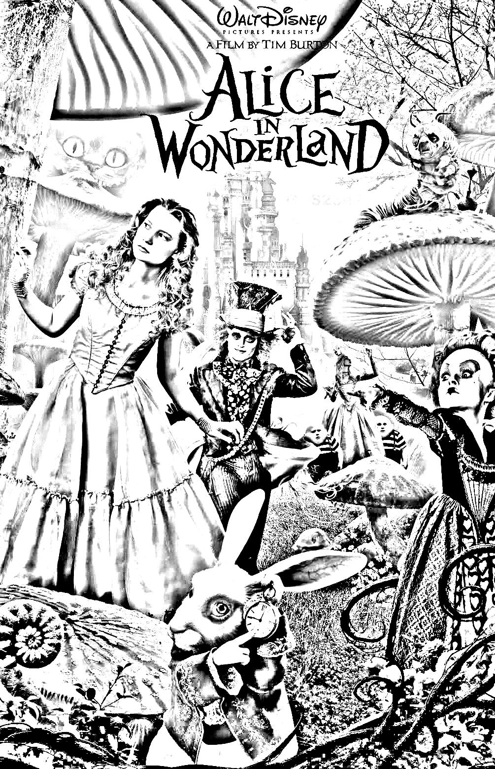 Coloriage affiche alice au pays des merveilles tim burton for Classic christmas films black and white