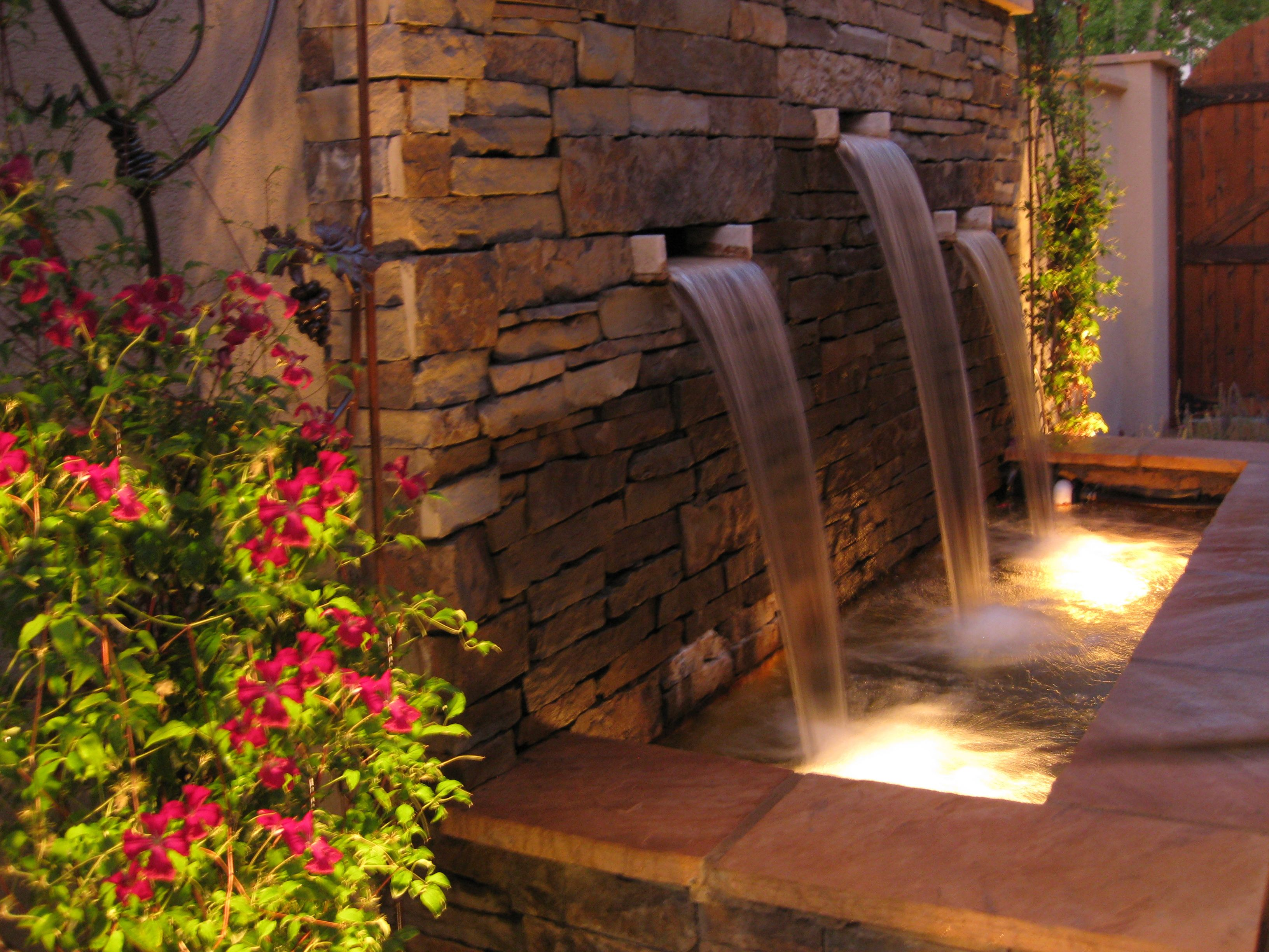 Dancing Light On Pour Over Stone Water Feature Backyard 400 x 300