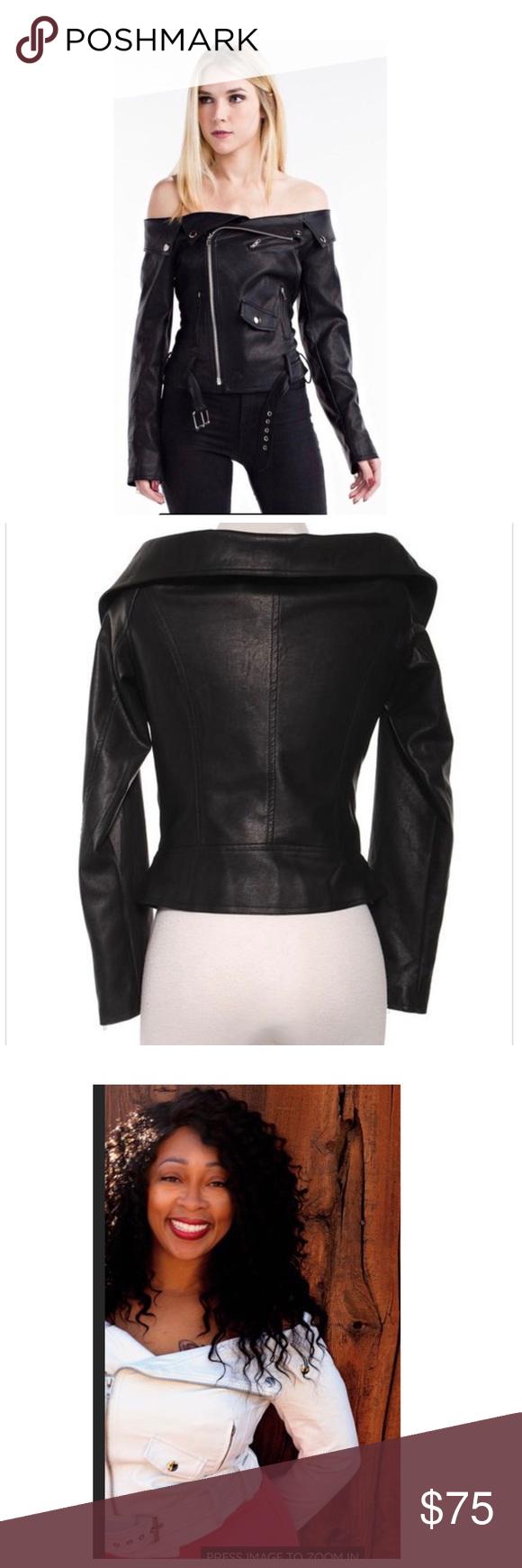 White Leather Jacket (faux) White Faux leather jacket off