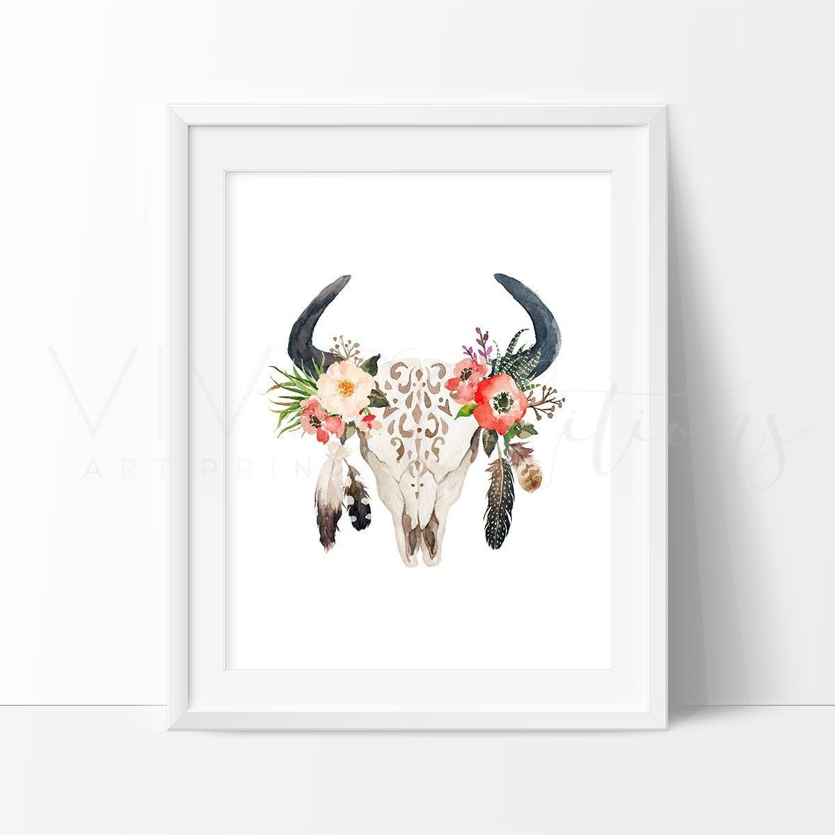 floral cow skull feathers boho art cow skull cow and watercolor