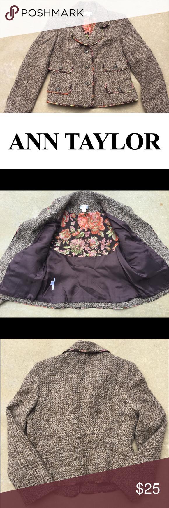 Ann Taylor Loft Blazer size 8 Anne Taylor Loft Blazer 53% wool, 46% acrylic, 1% other fibers. Floral trim. Blazer is lined. Size 8. Ann Taylor Jackets & Coats Blazers
