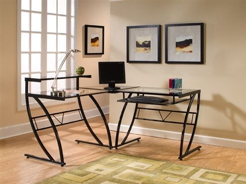 black glossy l shaped modern glass desk products
