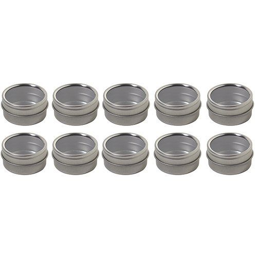 Silver Metal Steel Tin Flat Container With Tight Sealed Clear Lid 25 Oz 10 Pack You Can Find Out More Details A Metal Tins Tin Containers Metallic Silver