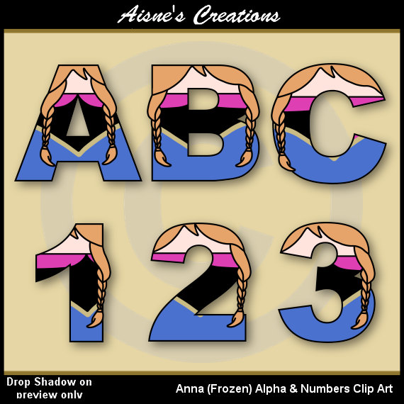 Anna Frozen Alphabet Letters & Numbers Clip Art Graphics | alphabet ...