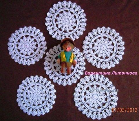 Комплект из салфеток - работа Валентины Литвиновой вязание и схемы вязания