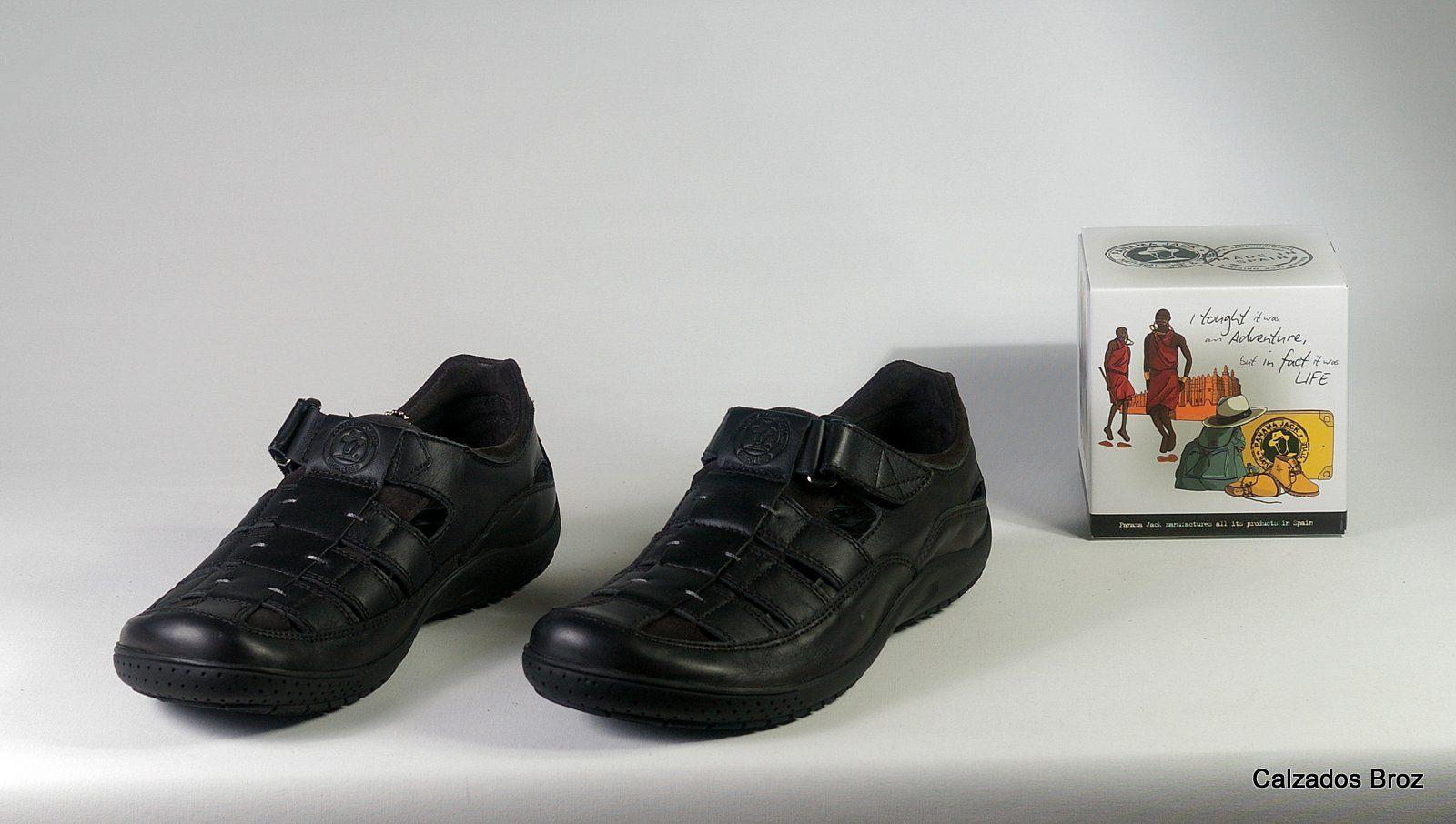 Colección Panama Jack. Sandalia de piel cerrada - Negro. (home).