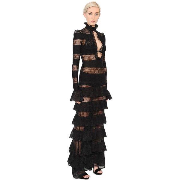 Alexander Mcqueen Women Ruffled Silk & Lurex Knit Dress (41 800 SEK) ❤ liked on Polyvore featuring dresses, black, long sleeve dress, flutter-sleeve dress, panel dresses, knit dress and ruffle dress